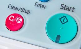 Bureau, fax, machine de copie, haut étroit de bouton marche photographie stock libre de droits