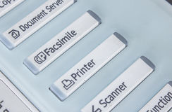 Bureau, fax, machine de copie, haut étroit de bouton marche images stock