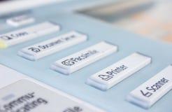 Bureau, fax, machine de copie, haut étroit de bouton marche photos libres de droits