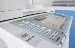 Bureau, fax, machine de copie, haut étroit de bouton marche image libre de droits