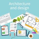 Bureau fonctionnant avec l'équipement, projet architectural Photographie stock libre de droits