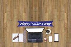 Bureau fonctionnant avec l'ordinateur portable et le concept heureux de jour du ` s de père Photographie stock