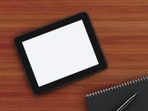 Bureau fonctionnant de bureau avec l'ordinateur portable et le bloc-notes Images libres de droits