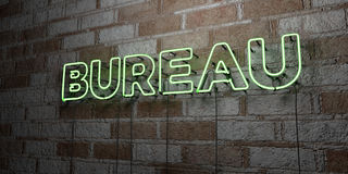 BUREAU - Glowing Neon Sign on stonework wall - 3D rendered royalty free stock illustration Stock Images