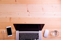 Bureau, instruments et fournitures de bureau Configuration plate Copiez l'espace Photographie stock libre de droits