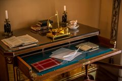 Bureau - intérieur d'Alexander Pushkin Memorial Museum à Moscou Photos libres de droits