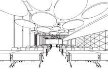 Bureau intérieur de perspective de dessin de croquis d'ensemble Image libre de droits