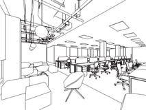 Bureau intérieur de perspective de dessin de croquis d'ensemble Photo libre de droits