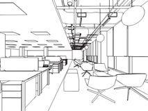 Bureau intérieur de perspective de dessin de croquis d'ensemble Photos libres de droits