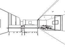 Bureau intérieur de perspective de dessin de croquis d'ensemble image stock