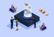 Bureau intelligent science et technologie isométrique d'illustration de la future illustration libre de droits