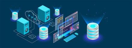 Bureau isométrique relié aux serveurs et à la base de données sur le dos bleu illustration stock