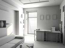 Bureau l'intérieur de blanc de pièce de reste illustration stock
