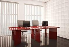 Bureau met 3d computers stock illustratie