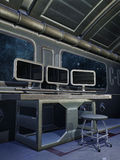 Bureau met computers stock illustratie