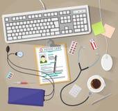 Bureau met laptop, medische en gezondheidszorghulpmiddelen royalty-vrije illustratie