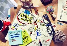 Bureau met Nota's over Online Veiligheid Stock Fotografie