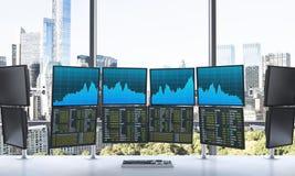Bureau met 24 werkende monitors, die gegevens, handel, nieuw y verwerken Royalty-vrije Stock Fotografie