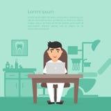 Bureau mignon de Dental de dentiste de docteur de personnage de dessin animé Clinique d'art dentaire Lieu de travail, ordinateur, Photo stock