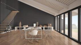 Bureau minimaliste, architecte et departm blancs et gris de planification Photos libres de droits