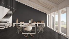 Bureau minimaliste, architecte et departm blancs et gris de planification Photo libre de droits