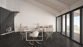 Bureau minimaliste, architecte et departm blancs et gris de planification Images stock