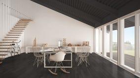 Bureau minimaliste, architecte et departm blancs et gris de planification Photo stock