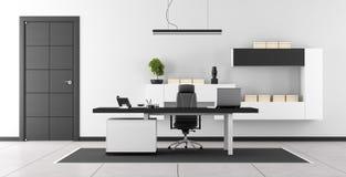 Bureau moderne noir et blanc Photos stock
