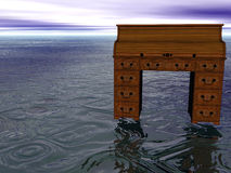 Bureau op zee vector illustratie