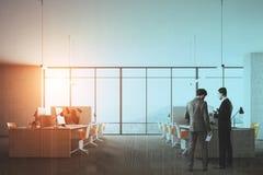 Bureau panoramique de l'espace ouvert, vue de côté modifiée la tonalité Photo libre de droits
