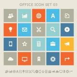 Bureau 3 pictogramreeks Multicolored vierkante vlakke knopen Stock Afbeelding