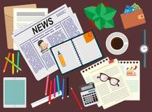 bureau bureau Realistische werkplaatsorganisatie De mening vanaf de bovenkant stock illustratie