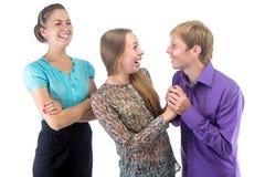 Bureau Romaanse en glimlachende werkgever royalty-vrije stock foto's