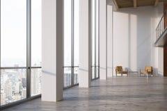 Bureau vide avec la fenêtre panoramique, côté Photographie stock