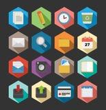 Bureau vlakke pictogrammen geplaatst ontwerp Stock Afbeeldingen