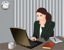 Bureau-vrouw stock illustratie