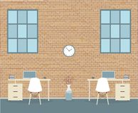 Bureau in zolderstijl op een baksteenachtergrond vector illustratie