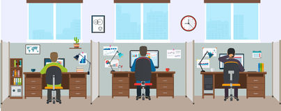 Bureaubinnenland met werknemers Modern bureaubinnenland Stock Fotografie