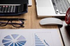 Bureaubureau met laptop, taplet, pen, analyserapport, calculator Stock Foto