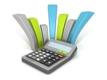 Bureaucalculator met gebogen financiële grafiek Stock Afbeelding