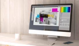 bureaucomputer digitale lay-out Royalty-vrije Stock Afbeeldingen