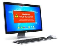 bureaucomputerpc met de waarschuwingsbericht van de virusaanval op het scherm Stock Foto