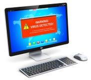 bureaucomputerpc met de waarschuwingsbericht van de virusaanval op het scherm Royalty-vrije Stock Fotografie