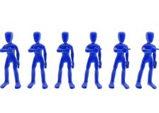 Bureaucracy. 3d figures standing in a line, each pointing at the next one, blue over white background Stock Image