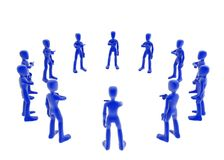 Bureaucracy circle. 3d figures standing in a circle, each pointing at the next one, blue over white background vector illustration