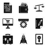 Bureaucracy icons set, simple style. Bureaucracy icons set. Simple set of 9 bureaucracy vector icons for web isolated on white background Royalty Free Stock Photo
