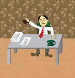 Bureaucrat. Office worker putting a stamp on documents Vector Illustration