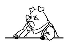 Bureaucrat character pig Royalty Free Stock Images