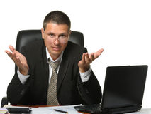 The bureaucrat emotionally shows the discontent. It is isolated on a white background Royalty Free Stock Images