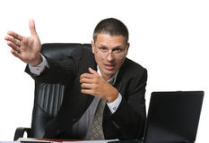 The bureaucrat emotionally shows the discontent Stock Image